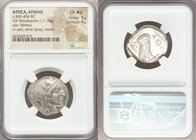 ATTICA. Athens. Ca. 440-404 BC. AR tetradrachm (25mm, 17.18 gm, 5h). NGC Choice AU 5/5 - 4/5. Mid-mass coinage issue. Head of Athena right, wearing cr...