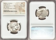 ATTICA. Athens. Ca. 440-404 BC. AR tetradrachm (26mm, 17.19 gm, 5h). NGC AU 5/5 - 4/5. Mid-mass coinage issue. Head of Athena right, wearing crested A...