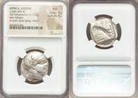 ATTICA. Athens. Ca. 440-404 BC. AR tetradrachm (23mm, 17.21 gm, 3h). NGC AU 2/5 - 4/5. Mid-mass coinage issue. Head of Athena right, wearing crested A...