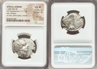 ATTICA. Athens. Ca. 440-404 BC. AR tetradrachm (27mm, 17.17 gm, 7h). NGC Choice XF 5/5 - 2/5, test cut. Mid-mass coinage issue. Head of Athena right, ...