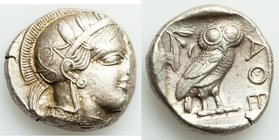 ATTICA. Athens. Ca. 440-404 BC. AR tetradrachm (24mm, 17.21 gm, 10h). XF. Mid-mass coinage issue. Head of Athena right, wearing crested Attic helmet o...