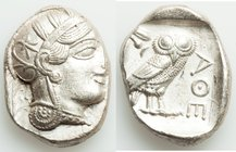 ATTICA. Athens. Ca. 440-404 BC. AR tetradrachm (27mm, 17.20 gm, 7h). XF. Mid-mass coinage issue. Head of Athena right, wearing crested Attic helmet or...