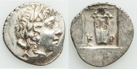 LYCIAN LEAGUE. Cragus. Ca. 1st century BC. AR hemidrachm (15mm, 1.74 gm, 12h). XF. Series 1. Laureate head of Apollo right; Λ-Y below / K-P, cithara (...