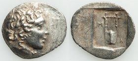 LYCIAN LEAGUE. Masicytes. Ca. 1st century BC. AR hemidrachm (17mm, 1.64 gm, 12h). XF, brushed. Series 1. Laureate head of Apollo right; Λ-Y below / M-...