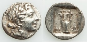 LYCIAN LEAGUE. Masicytes. Ca. 1st century BC. AR hemidrachm (14mm, 1.55 gm, 12h). XF. Series 1. Laureate head of Apollo right; Λ-Y below / M-A, cithar...
