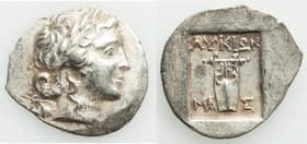 LYCIAN LEAGUE. Masicytes. Ca. 1st century BC. AR hemidrachm (16mm, 1.91 gm, 12h). AU. Series 2. Laureate head of Apollo right; flower on vine below / ...