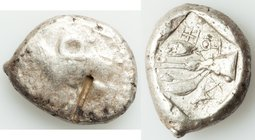 CYPRUS. Uncertain mint. Ca. early 5th century BC. AR stater (23mm, 10.83 gm, 10h). Choice Fine, test cut. Ram walking left; ankh superimposed above, R...
