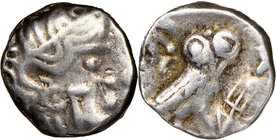 ARABIA. Qataban. Unknown Ruler(s) (ca. 350-300 BC). AR hemidrachm (11mm, 2.01 gm, 9h). NGC Choice Fine, 4/5 - 4/5. Imitating Athens. Helmeted head of ...