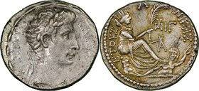 SYRIA. Antioch. Augustus (27 BC-AD 14). AR tetradrachm (27mm, 15.45 gm, 12h). NGC AU 4/5 - 3/5. Dated Actian Era Year 30 (2/1 BC) and Cos. XIII. KAIΣA...