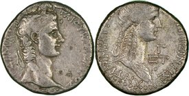 SYRIA. Antioch. Caligula (AD 37-41), with Agrippina Senior. AR tetradrachm (25mm, 15.11 gm, 1h). NGC VF 3/5 - 3/5. Dated Regnal Year 3 (AD 38/9). ΓAIO...