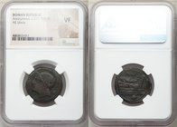 Anonymous. Ca. 217-215 BC. AE uncia (25mm, 12h). NGC VF. Semilibral prow series. Rome. Head of Roma left wearing Attic helmet; • (mark of value) behin...