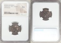 Anonymous. After ca. 211 BC. AR denarius (21mm, 4h). NGC AU. Rome. Head of Roma right, wearing winged helmet decorated with griffin crest; X (mark of ...