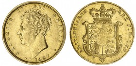 GREAT BRITAIN. George IV, 1820-30. Gold Sovereign, 1827, London. PCGS AU50. 7.99 g. 22.05 mm. S-3801. Ezen collection' In a protective plastic holder ...
