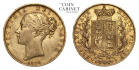 GREAT BRITAIN. Victoria, 1837-1901. Gold Sovereign, 1838, London. Good fine.. 7.98 g. 22.05 mm. Mintage: 2,718,694. Marsh 22, S.3852. The first date i...