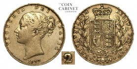 GREAT BRITAIN. Victoria, 1837-1901. Gold Sovereign, 1842, London. Fine. 7.99 g. 22.05 mm. Mintage: 4,865,375. Unlisted in Marsh, S.3852. Rare variety ...