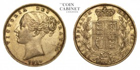 GREAT BRITAIN. Victoria, 1837-1901. Gold Sovereign, 1850, London. Good very fine.. 7.99 g. 22.05 mm. Mintage: 1,402,039. Marsh 33 (R); S 3852C. Good v...