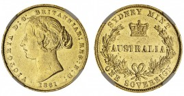 AUSTRALIA. Victoria, 1837-1901. Gold Sovereign, 1861-SY, Sydney. NGC AU58. 8.00 g. 22.05 mm. Mintage: 1,626,000. Marsh 366; KM.4; McD.108. In a protec...