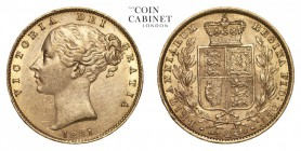 GREAT BRITAIN. Victoria, 1837-1901. Gold Sovereign, 1861, London. Extremely fine.. 7.99 g. 22.05 mm. Mintage: 7,624,736. Marsh 44, S.3852D. Extremely ...
