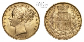 GREAT BRITAIN. Victoria, 1837-1901. Gold Sovereign, 1862, London. Extremely fine.. 7.99 g. 22.05 mm. Mintage: 7,836,413. Marsh 45, S.3852D. Extremely ...