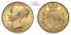 GREAT BRITAIN. Victoria, 1837-1901. Gold Sovereign, 1863, London. About uncirculated.. 7.99 g. 22.05 mm. Mintage: 5,921,669. Marsh 48, S.3853. About u...
