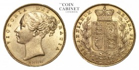 GREAT BRITAIN. Victoria, 1837-1901. Gold Sovereign, 1866, London. Good extremely fine.. 7.99 g. 22.05 mm. Mintage: 4,047,288. Marsh 51, S.3853. Good e...