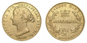 AUSTRALIA. Victoria, 1837-1901. Gold Sovereign, 1867-SY, Sydney. About fine.. 7.99 g. 22.05 mm. Mintage: 2,370,000. Marsh 372; KM #4. About fine.