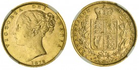 GREAT BRITAIN. Victoria, 1837-1901. Gold Sovereign, 1872, London. NGC MS63. 7.99 g. 22.05 mm. Mintage: 13,486,708. Marsh 56, S.3853B. No die number. I...