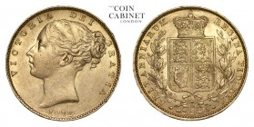 AUSTRALIA. Victoria, 1837-1901. Gold Sovereign, 1872-M, Melbourne. Extremely fine.. 7.99 g. 22.05 mm. Mintage: 748,180. Marsh 59; S.3854. A scarce dat...