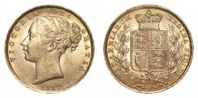 AUSTRALIA. Victoria, 1837-1901. Gold Sovereign, 1881-S, Sydney. About uncirculated.. 7.99 g. 22.05 mm. Mintage: 1,360,000. S.3855B; Marsh 77. Scarce d...