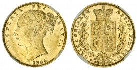 AUSTRALIA. Victoria, 1837-1901. Gold Sovereign, 1884-M, Melbourne. NGC MS61. 7.99 g. 22.05 mm. Mintage: 2,942,630. Marsh 65, S.3854A. In a protective ...