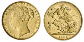 AUSTRALIA. Victoria, 1837-1901. Gold Sovereign, 1884-M, Melbourne. CGS 45. 7.99 g. 22.05 mm. Marsh 106; S.3857C. St. George reverse. WW complete in tr...