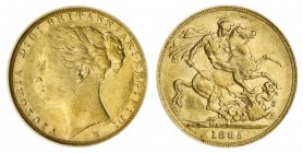 AUSTRALIA. Victoria, 1837-1901. Gold Sovereign, 1885-M, Melbourne. CGS 50. 7.99 g. 22.05 mm. Mintage: 2,967,143. S.3857C; Marsh 107. WW complete on br...