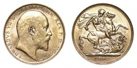 AUSTRALIA. Edward VII, 1901-10. Gold Sovereign, 1903-P, Perth. Extremely fine.. 7.99 g. 22.05 mm. Mintage: 4,674,783. Marsh 196, S.3972. Extremely fin...