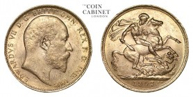AUSTRALIA. Edward VII, 1901-10. Gold Sovereign, 1907-M, Melbourne. Extremely fine.. 7.99 g. 22.05 mm. Mintage: 3,332,691. Marsh 191, S.3971. Extremely...