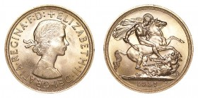 GREAT BRITAIN. Elizabeth II, 1953-. Gold Sovereign, 1957, London. About uncirculated.. 7.99 g. 22.05 mm. Mintage: 2,072,000. S-4124. About uncirculate...