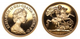 GREAT BRITAIN. Elizabeth II, 1952-. Gold Proof Sovereign, 1980, London. Fleur-de-Coin (FDC). 7.99 g. 22.05 mm. Mintage: 81,200. S-4204. In box of issu...