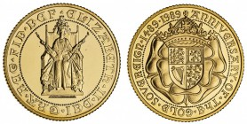 GREAT BRITAIN. Elizabeth II, 1953-. Gold Proof Sovereign, 1989, London. Fleur-de-Coin (FDC). 7.99 g. 22.05 mm. Mintage: 10,535. S.4272. 500 year anniv...