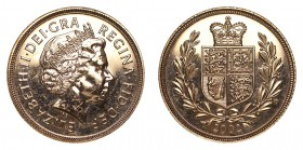 GREAT BRITAIN. Elizabeth II, 1952-. Gold Sovereign, 2002, London. Almost uncirculated.. 7.99 g. 22.05 mm. Mintage: 75,264. S-4431. In a capsule and re...