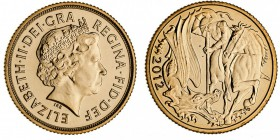 GREAT BRITAIN. Elizabeth II, 1953-. Gold Sovereign, 2012, London. As struck and in original plastic case as issued by Royal mint. 7.99 g. 22.05 mm. Mi...
