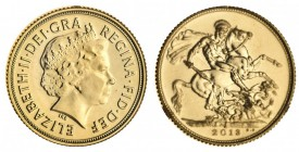INDIA. Elizabeth II, 1953-. Gold Sovereign, 2013-I, Delhi. As struck, in red card of issue.. 7.99 g. 22.05 mm. As struck, in red card of issue.