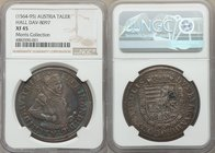 Archduke Ferdinand Taler ND (1564-1595) XF45 NGC, Hall mint, Dav-8097. Azure iridescence pervades across the obverse surfaces, resulting in uniquely b...