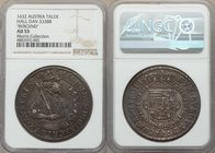 Leopold Taler 1632 AU55 NGC, Hall mint, KM629.2, Dav-3338B. Displaying laudable detail, the surfaces bathed in steel and pale blue tones, only a subtl...