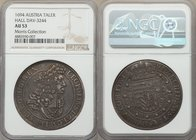 Leopold I Taler 1694 AU53 NGC, Hall mint, KM1303.3, Dav-3244. A pseudo-cameo effect is achieved in this circulated example, as the lighter slightly ru...