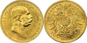 "Franz Joseph I gold 10 Corona 1909 AU58 NGC, KM2815. ""Small head"" variety. AGW 0.0980 oz. From the Morris Collection  HID09801242017"