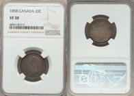 Victoria 20 Cents 1858 VF30 NGC, London mint, KM4. A scarce denomination that preserves all of the integral features of the design. From the Morris Co...