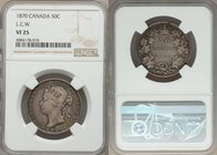 Victoria 50 Cents 1870 VF25 NGC, London mint, KM6. Variety with LCW on truncation. The first year for the type imbued with subtle opalescence in the o...
