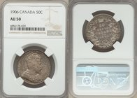 Edward VII 50 Cents 1906 AU50 NGC, London mint, KM12. A notable strike accompanied by charming old time collector toning and rather non-distracting ma...