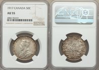 George V 50 Cents 1917 AU55 NGC, Ottawa mint, KM25. Highly lustrous and original for the assigned grade with slightly mottled color. From the Morris C...