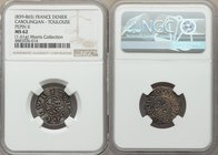 Carolingian. Pippin II of Aquitaine (839-865) Denier ND (845-848) MS62 NGC, Toulouse mint, Rob-1876, MEC I-816, MG-618, Dep-999. 20mm. 1.61gm. +PIPPHI...