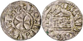 Carolingian. Lothar (Lothaire) III or IV (954-986) Denier ND XF45 NGC, Bourges mint, Rob-1823, MG-1666, Dep-206. 19mm. 1.29gm. +LOTERIVS REX, cross pa...